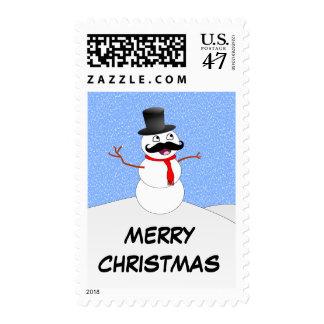 Vintage Snowman With Mustache Stamp