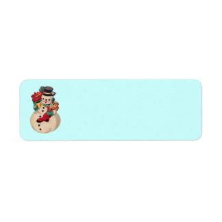 Vintage Snowman with Poinsettia Custom Return Address Labels