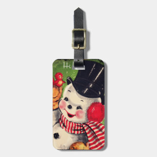 Vintage Snowman with Red Bird Bag Tag