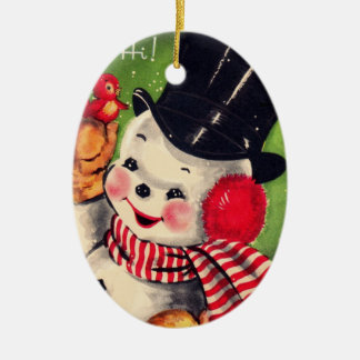 Vintage Snowman with Red Bird Ceramic Ornament