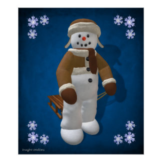 Vintage Snowman with Sledge Poster