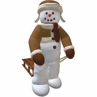 Vintage Snowman with Sledge Statuette