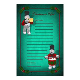 Vintage Snowmen: Christmas List Stationery