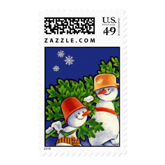 Vintage Snowmen Christmas Postage Stamps