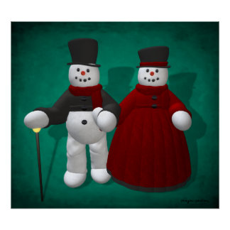 Vintage Snowmen: Lord & Lady Cool Poster