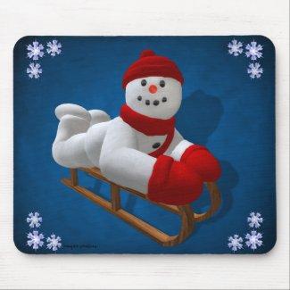 Vintage Snowmen: Sledder mousepad