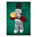 Vintage Snowmen: Trumpeter Greeting Card