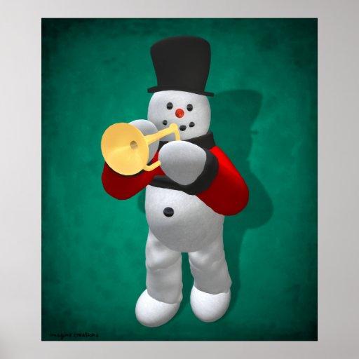 Vintage Snowmen: Trumpeter Poster