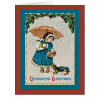 Vintage Snowy Christmas Girl with Pets  Card
