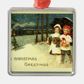 Vintage Snowy Christmas Train Ride Metal Ornament