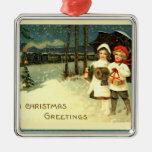 Vintage Snowy Christmas Train Ride Ornament