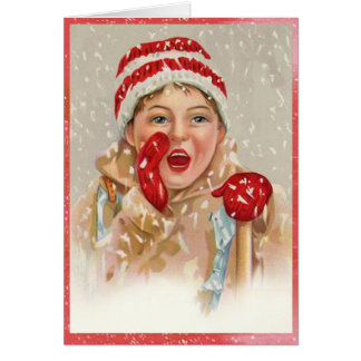 Vintage Snowy Mitten Girl Christmas Card