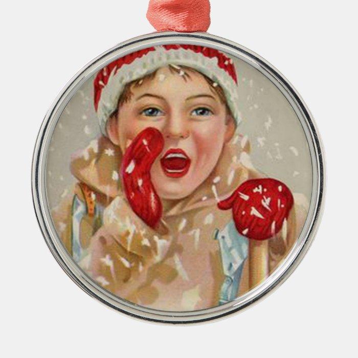 Vintage Snowy Mitten Girl Christmas Ornament