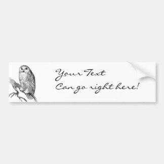 Vintage Snowy Owl Bumper Sticker Car Bumper Sticker
