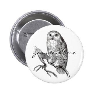 Vintage Snowy Owl Button
