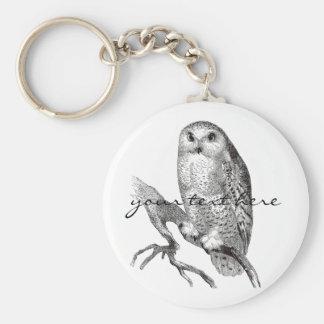 Vintage Snowy Owl Keychain