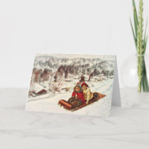Vintage Snowy Victorian Christmas by Shawna Mac Holiday Card