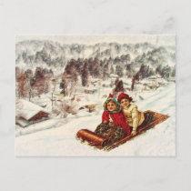 Vintage Snowy Victorian Christmas by Shawna Mac Holiday Postcard