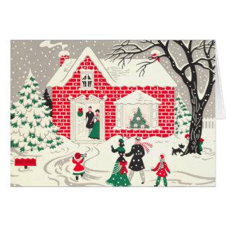 Vintage Snowy Visit Greeting Cards