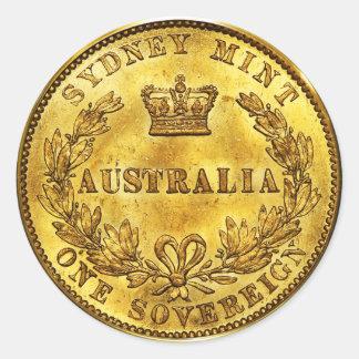 Vintage soberano del oro de Australia (paquete de Pegatina Redonda