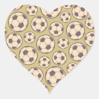 Vintage Soccer Balls Heart Sticker