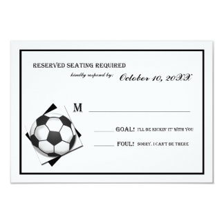 Vintage Soccer Bar Mitzvah Black and White Reply Card