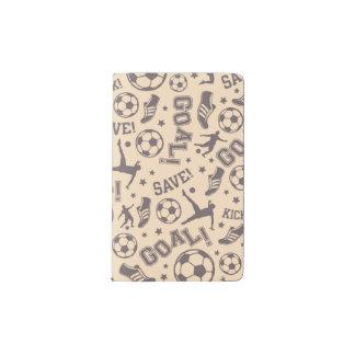 Vintage Soccer Pattern Pocket Moleskine Notebook