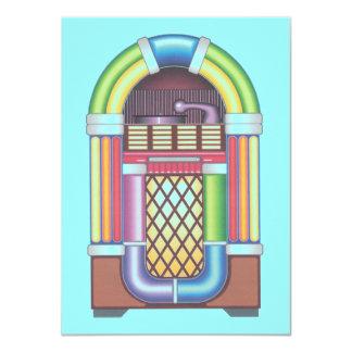 Vintage Sock Record Hop Dance Jukebox on Aqua Blue Card
