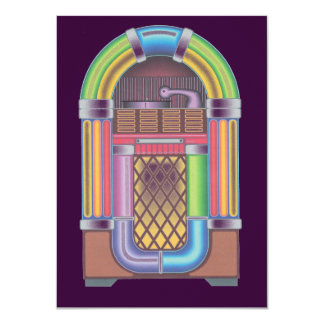 Vintage Sock Record Hop Dance Jukebox Purple Card