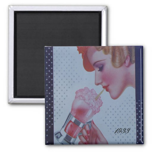 Vintage Soda Fountain 1933 2 Inch Square Magnet