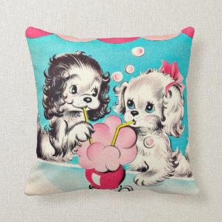 Vintage Soda Shop Puppies Throw Pillow
