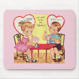 Vintage Soda Shop Sweethearts Valentine Mouse Pad
