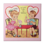 Vintage Soda Shop Valentine Sweethearts Small Square Tile