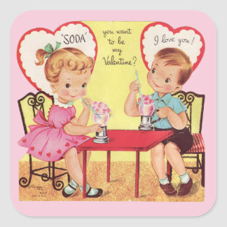 Vintage Soda Shop Valentine Sweethearts Stickers