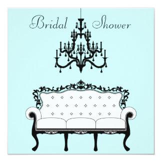 Vintage Sofa Chandelier Teal Black Bridal Shower Card
