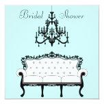 Vintage Sofa Chandelier Teal Black Bridal Shower Announcements