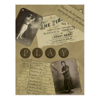 "Vintage ""Softball"" Scrapbook Postcard"
