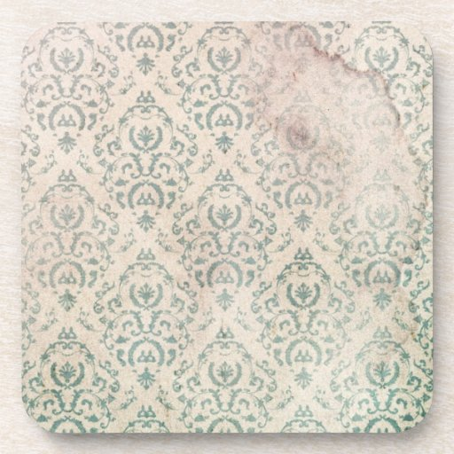 Vintage Soiled and Green Floral Wallpaper Coasters