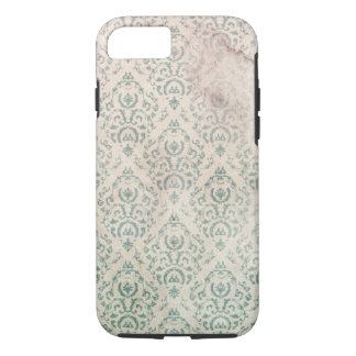 Vintage Soiled and Spoiled Green Floral Wallpaper iPhone 7 Case