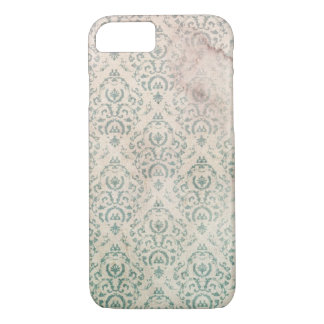 Vintage Soiled and Spoiled Green Floral Wallpaper iPhone 8/7 Case