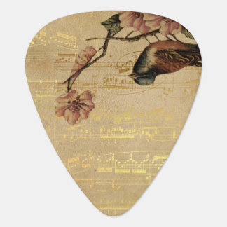 Vintage Song Bird Cherry Blossom Gold Music Notes Guitar Pick
