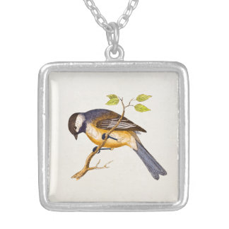 Vintage Song Bird Illustration - 1800's Birds Square Pendant Necklace