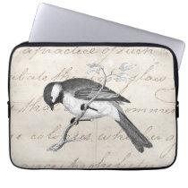 Vintage Song Bird Illustration -1800's Birds Text Computer Sleeve