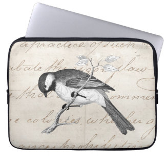 Vintage Song Bird Illustration - 1800's Birds Text Computer Sleeve