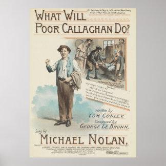 Vintage Song Sheet Poor Callaghan Poster