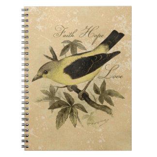 Vintage Songbird Bird Faith Hope Love Notebook