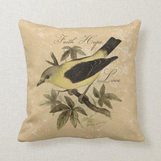 Vintage Songbird Faith Hope Love Throw Pillow