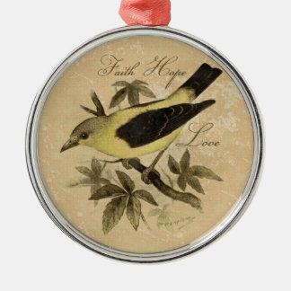 Vintage Songbird Faith Hope Love Tree Ornament