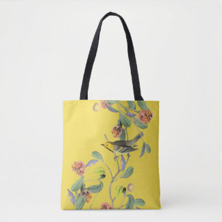 Vintage Songbird Pale Yellow Tote Bag