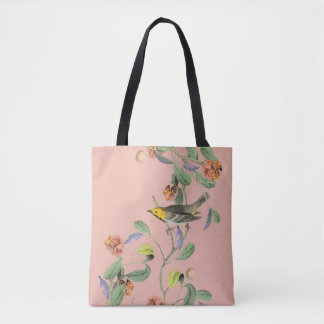 Vintage Songbird Pink Tote Bag
